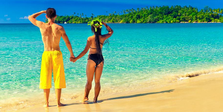Paar Strand Fiji Honeymoon