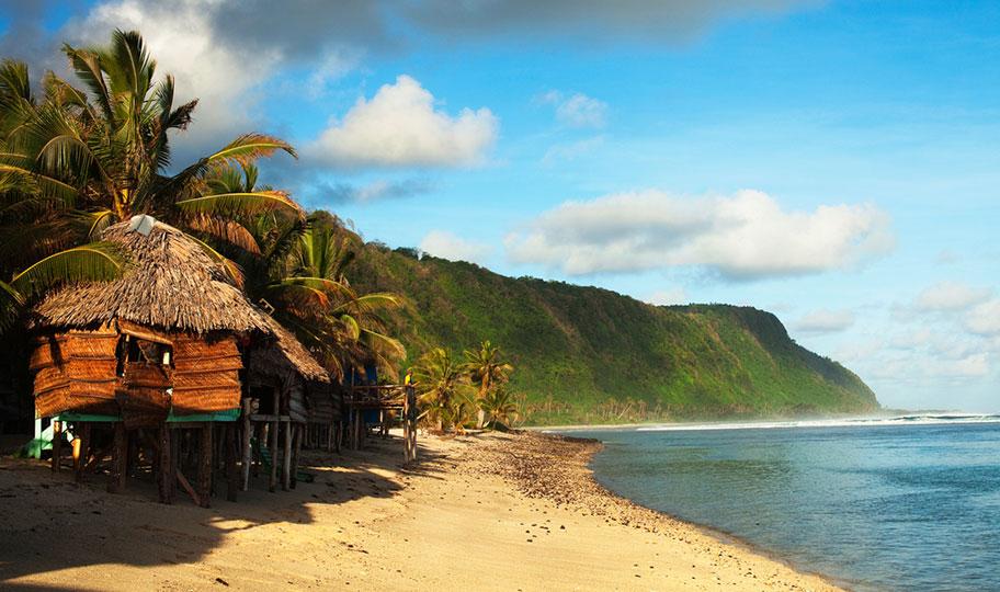 Bungalow am Strand auf der Insel Samoa