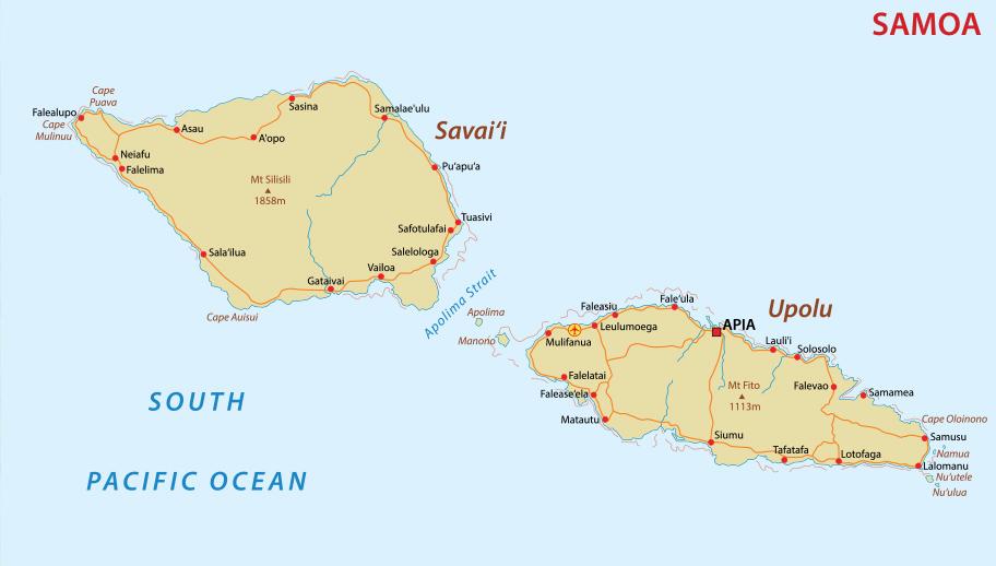 Karte Samoa beide Inseln